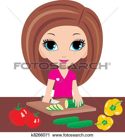 Clipart of Cartoon woman on kitchen cuts k8266071.