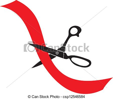 Vector of scissors cut a red ribbon (tape and scissors.