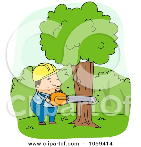 Man cutting down tree clipart.