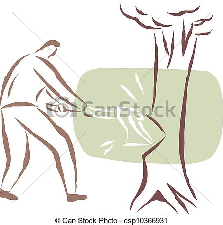Drawings of A man cutting a tree down csp10366931.
