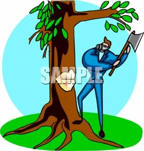 Cutting down tree clipart.