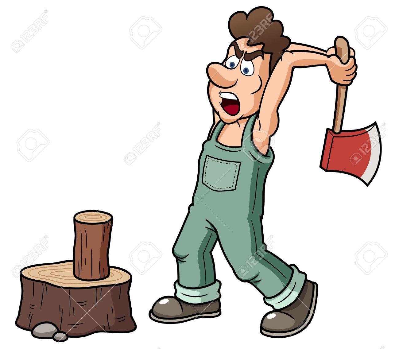 Illustration Of Man Chopping Wood Royalty Free Cliparts, Vectors.