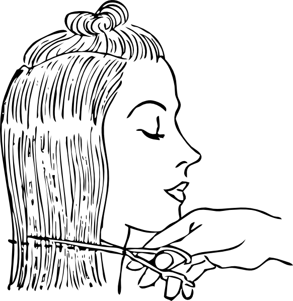 Cutting Woman S Hair clip art (109023) Free SVG Download / 4 Vector.