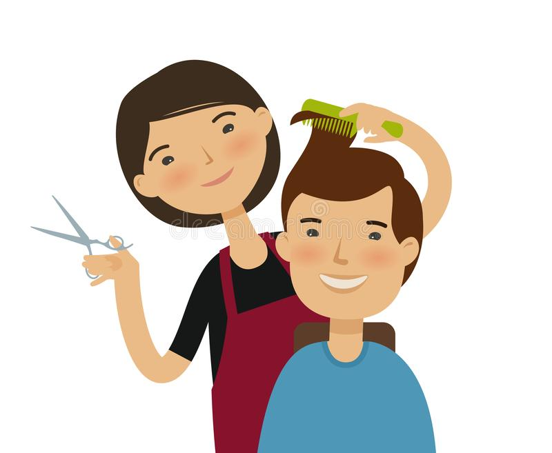 Cutting Hair Stock Illustrations.