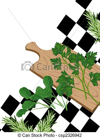 Clip Art of Herbs on cutting board.