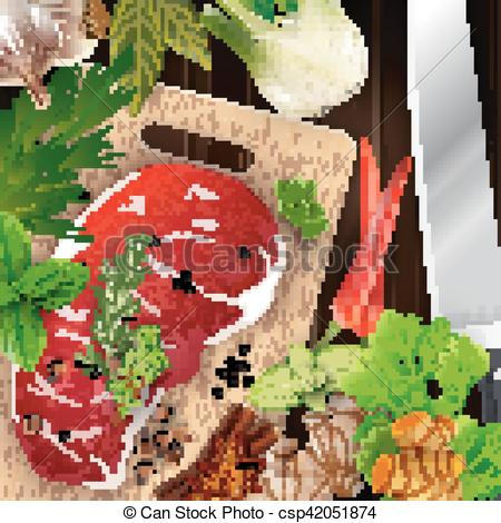 Vectors Illustration of Spices and herbs and meat with cutting.