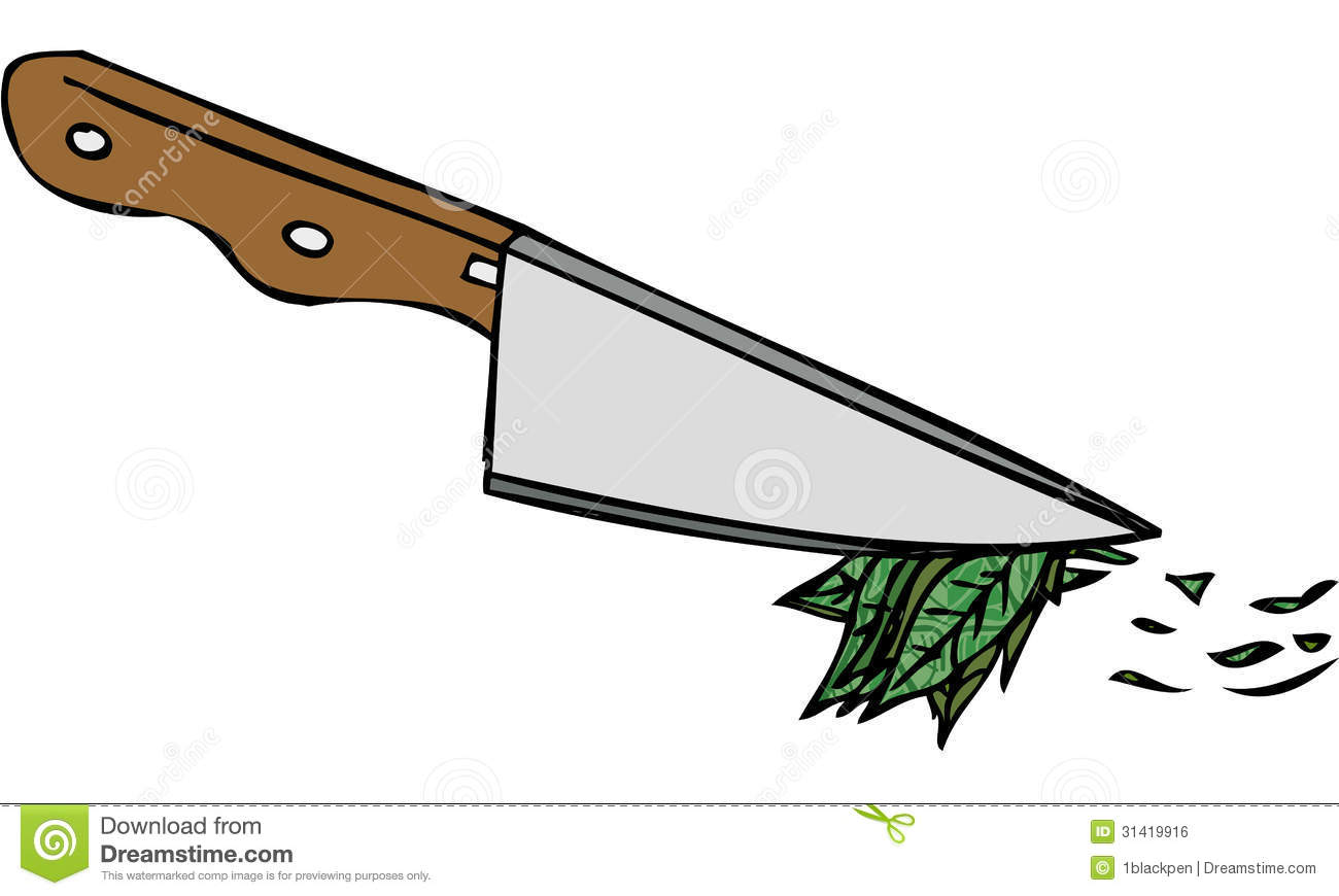 Isolated Vector Illustration Of Kitchen Knife Chopping Herbs.