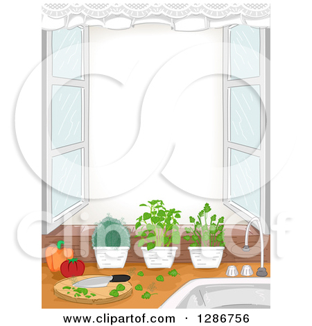 Clipart of a Kitchen Window with an Herb Garden, Cutting Board and.