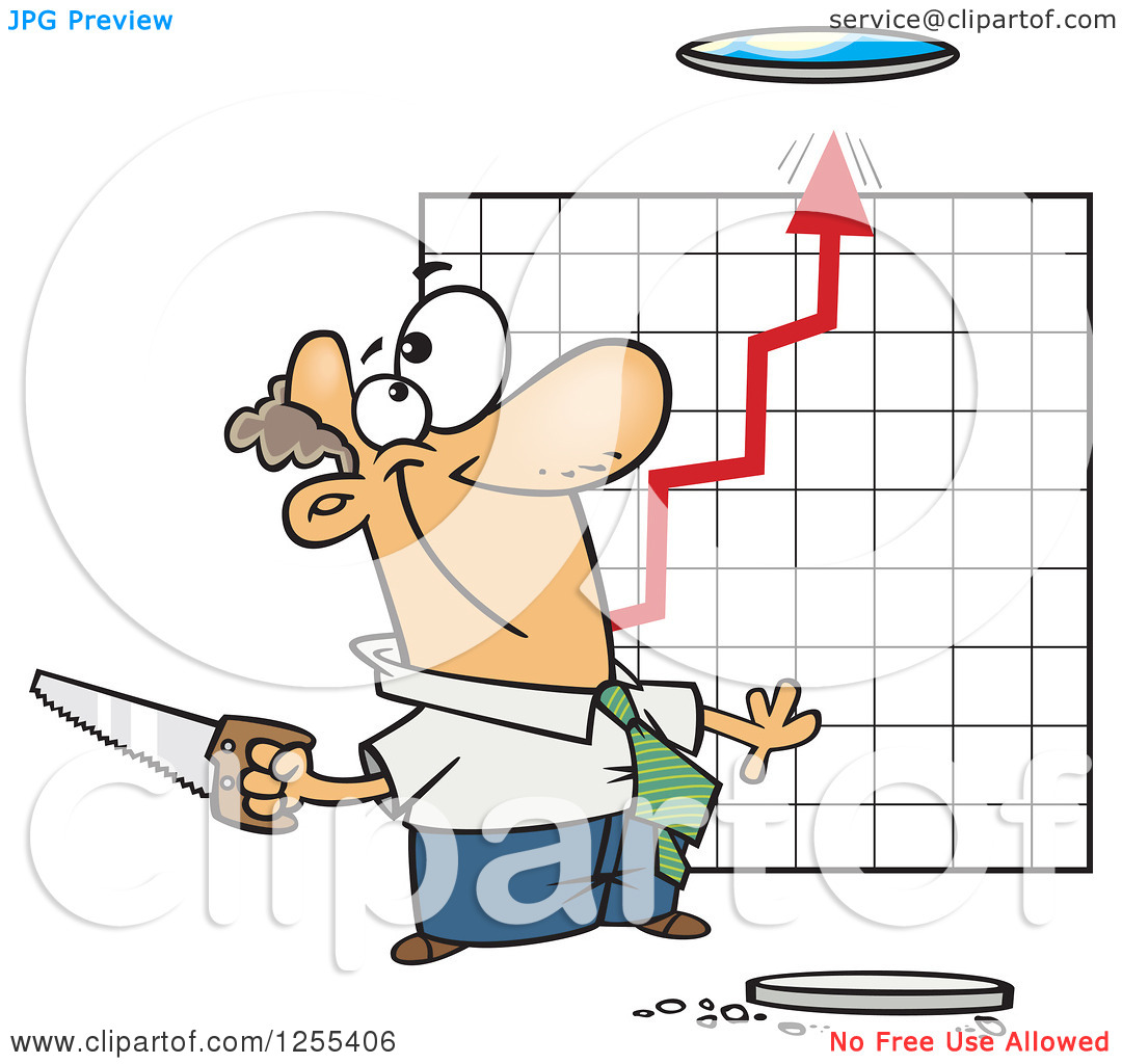 Clipart of a Caucasian Businessman Cutting a Hole in the Ceiling.