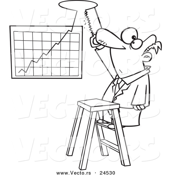 Vector of a Cartoon Businessman Cutting a Hole in the Ceiling for.