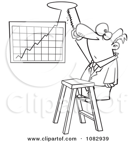 Clipart Outlined Businessman Cutting A Hole In The Ceiling For His.