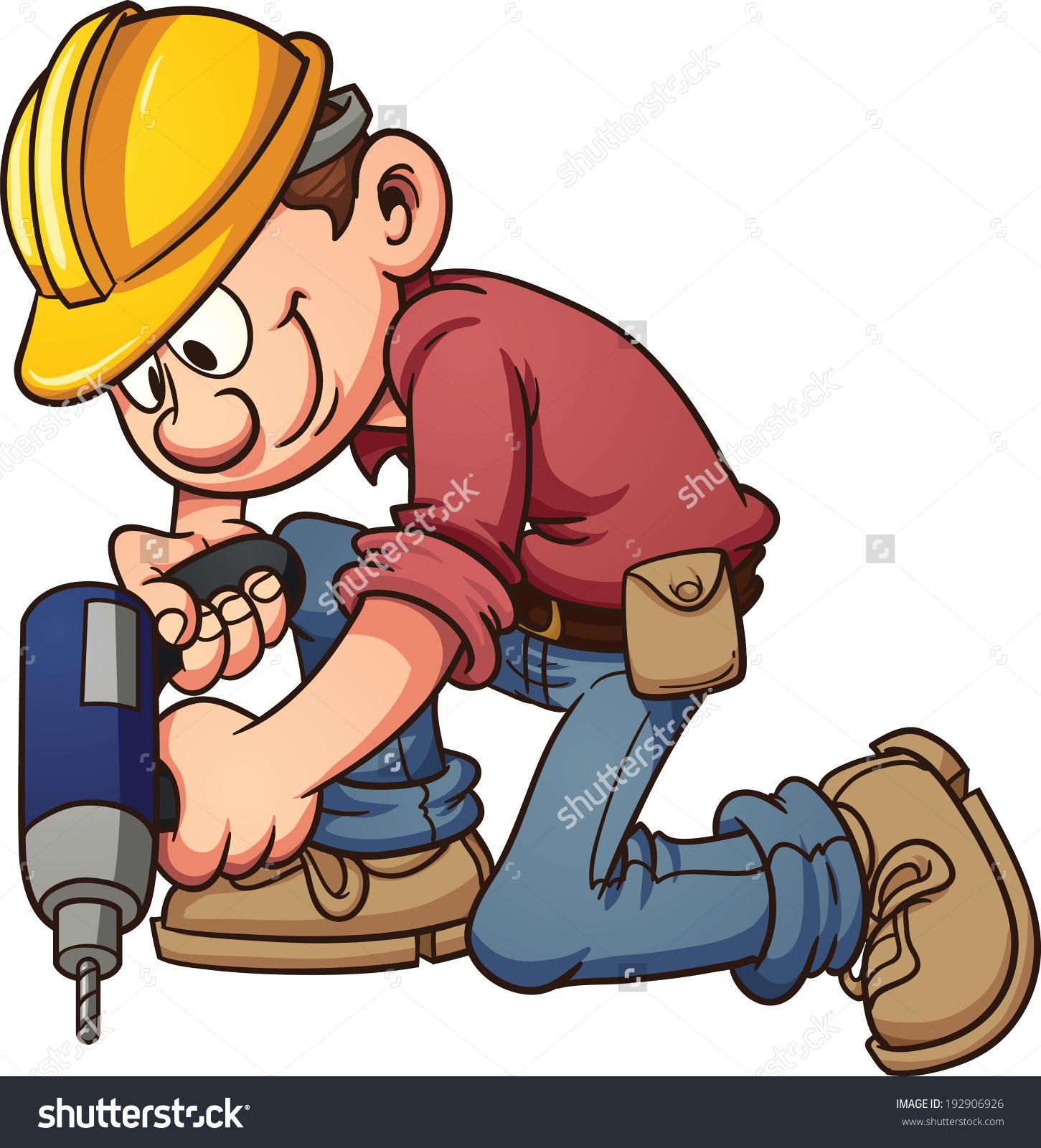 Cartoon Construction Worker Drilling Hole Vector Stock Vector.