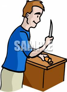 Clipart woman cutting with knife.