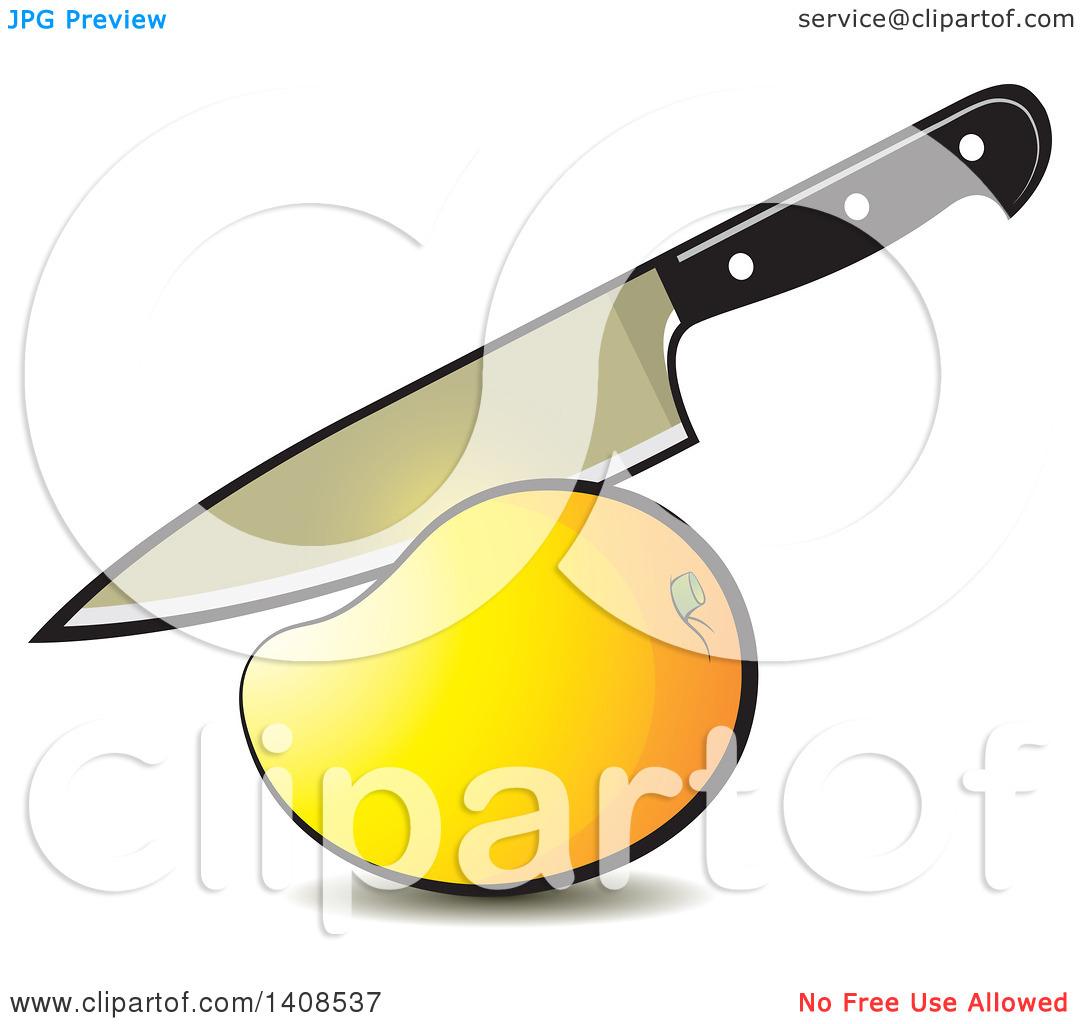 Clipart of a Knife Cutting a Mango.
