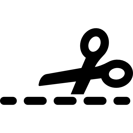 Cutting with a scissor on broken line Icons.