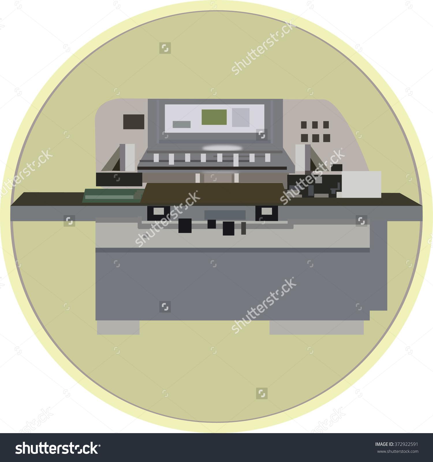 Clip Art Cutting Machine Stock Vector Illustration 372922591.
