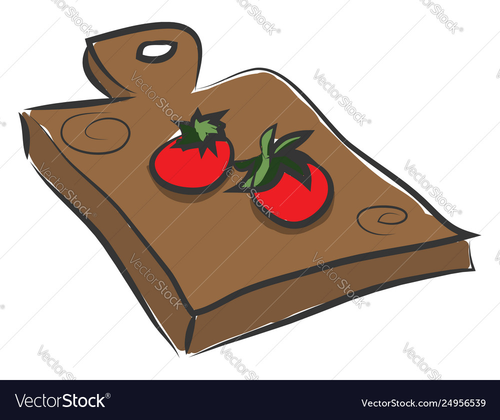 Clipart two tomatoes over a wooden cutting pad.