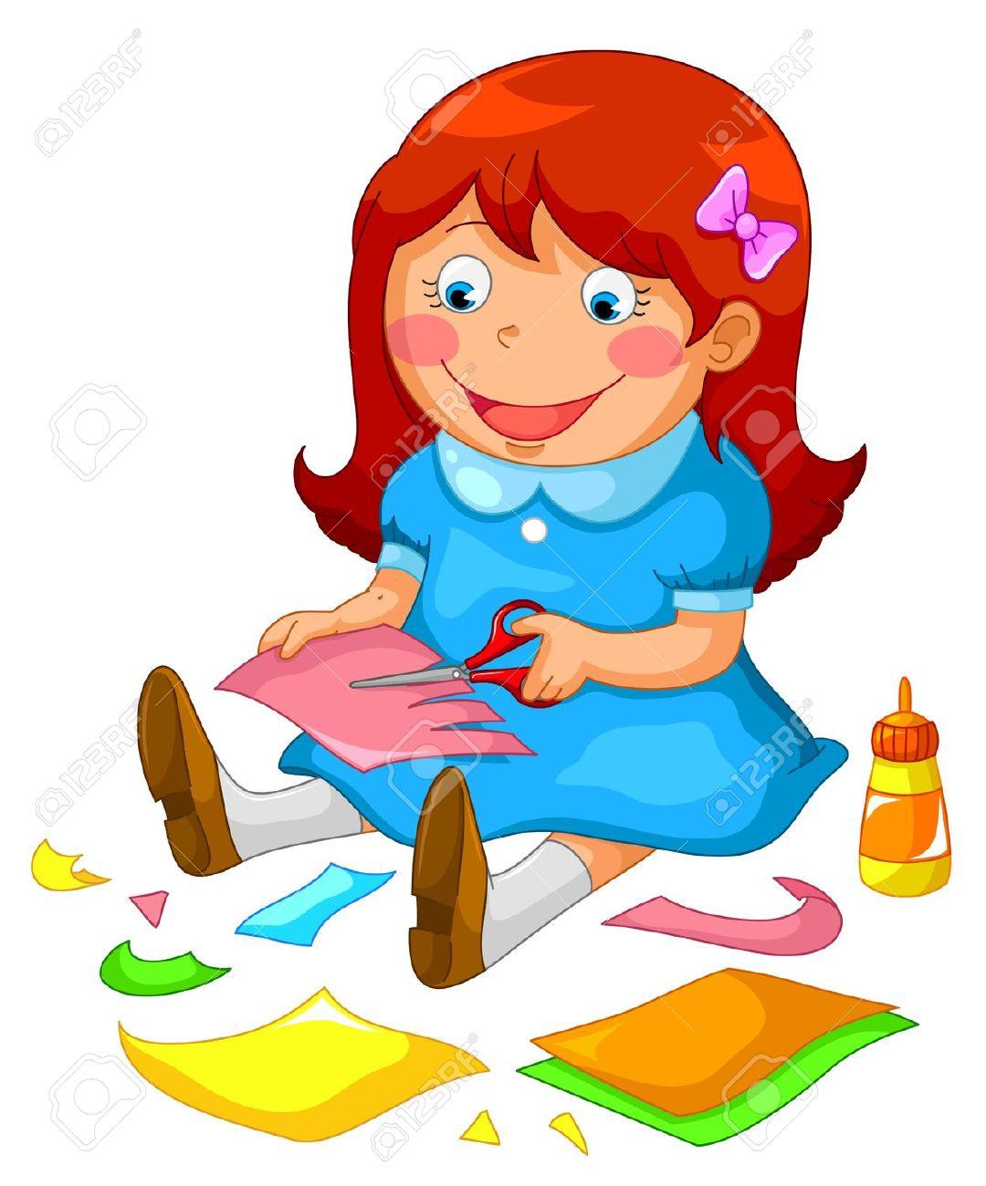 Girl cutting paper clipart.