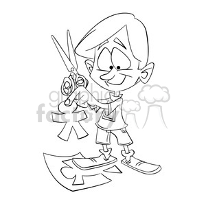 black and white image of boy cutting paper people tijeras negro clipart.  Royalty.