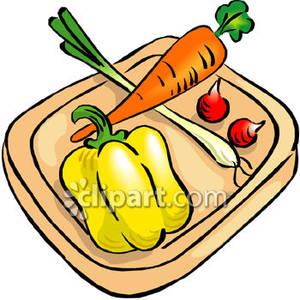 Chopping vegetables clipart.