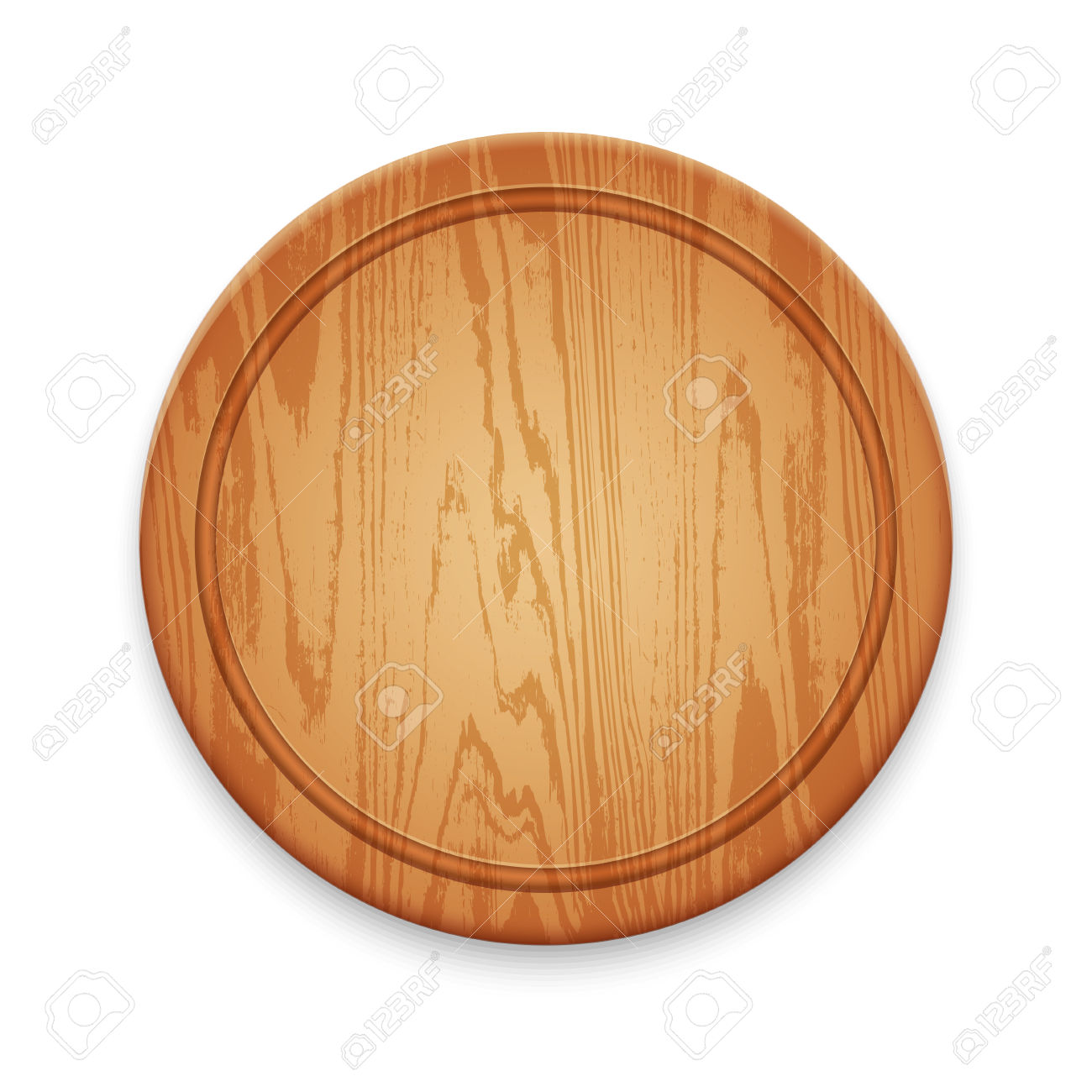 Wooden Empty Round Cutting Board Isolated On White Background.