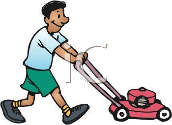 Clipart of man cutting grass.