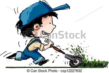 Mother cutting grass clipart.