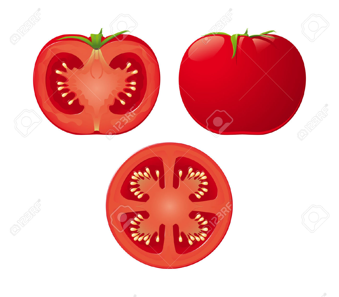 An Isolated Tomato And Two Halves Royalty Free Cliparts, Vectors.