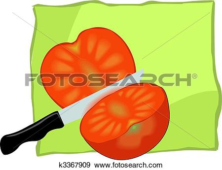 Stock Illustration of tomato sliced and knife k3367909.