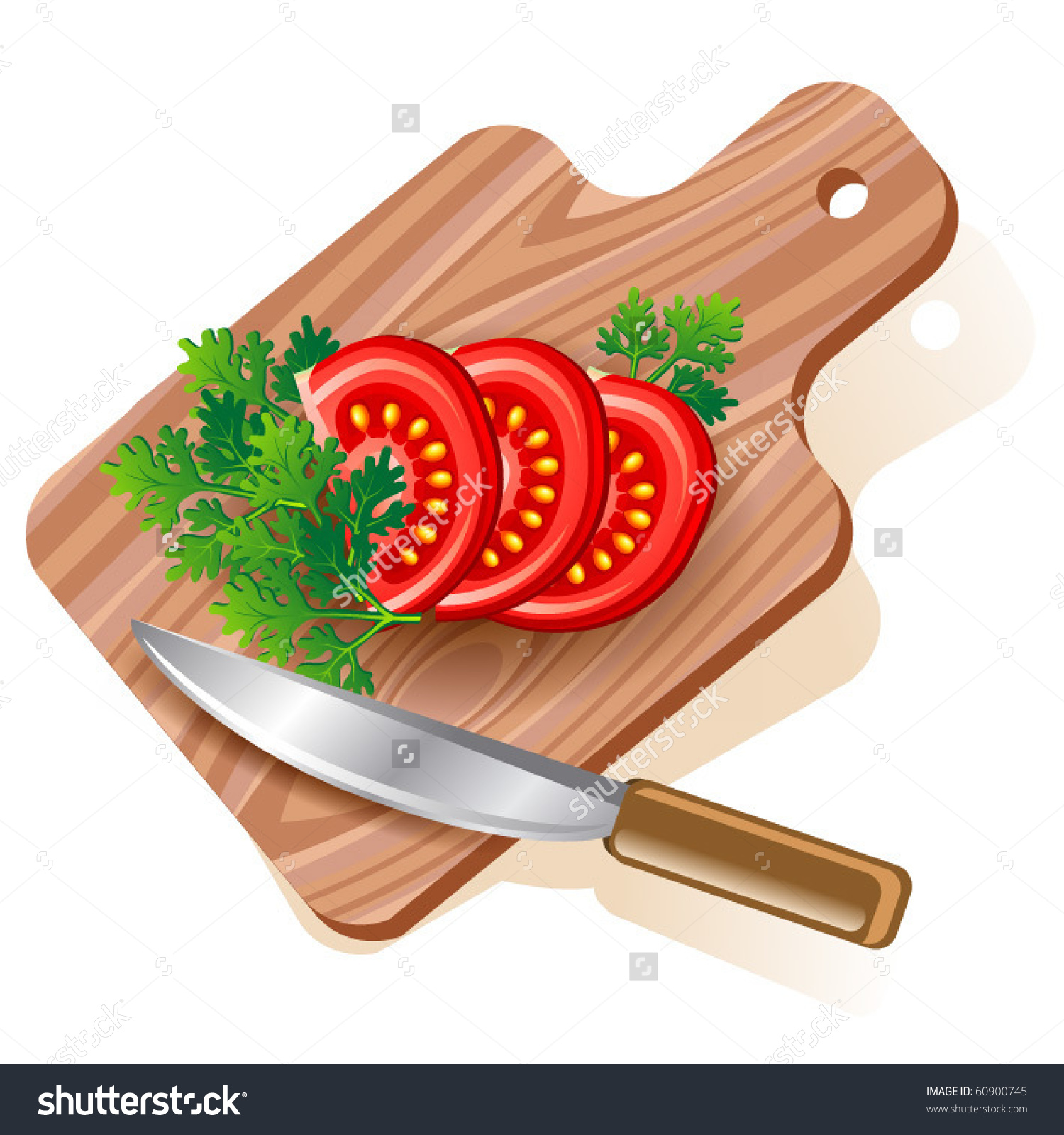 Tomato On Cutting Board Vector Eps10 Stock Vector 60900745.