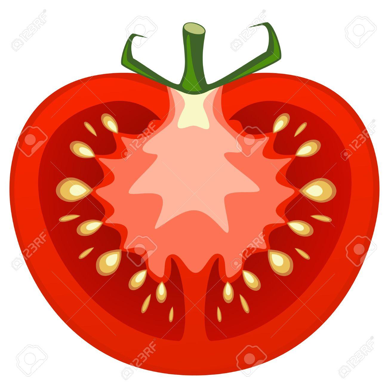 Cut tomato clipart.