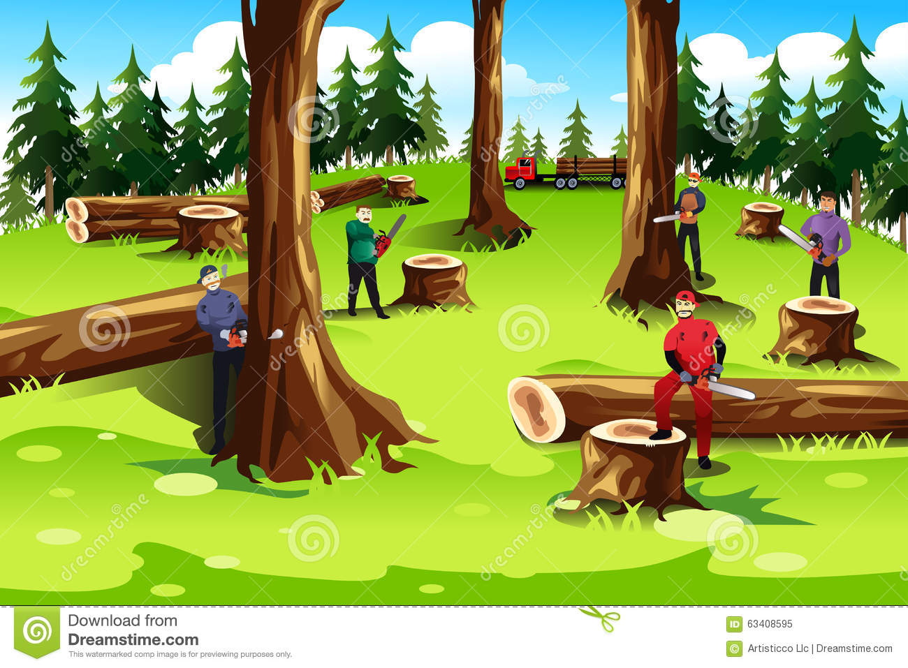 People Cutting Down Trees Clipart.