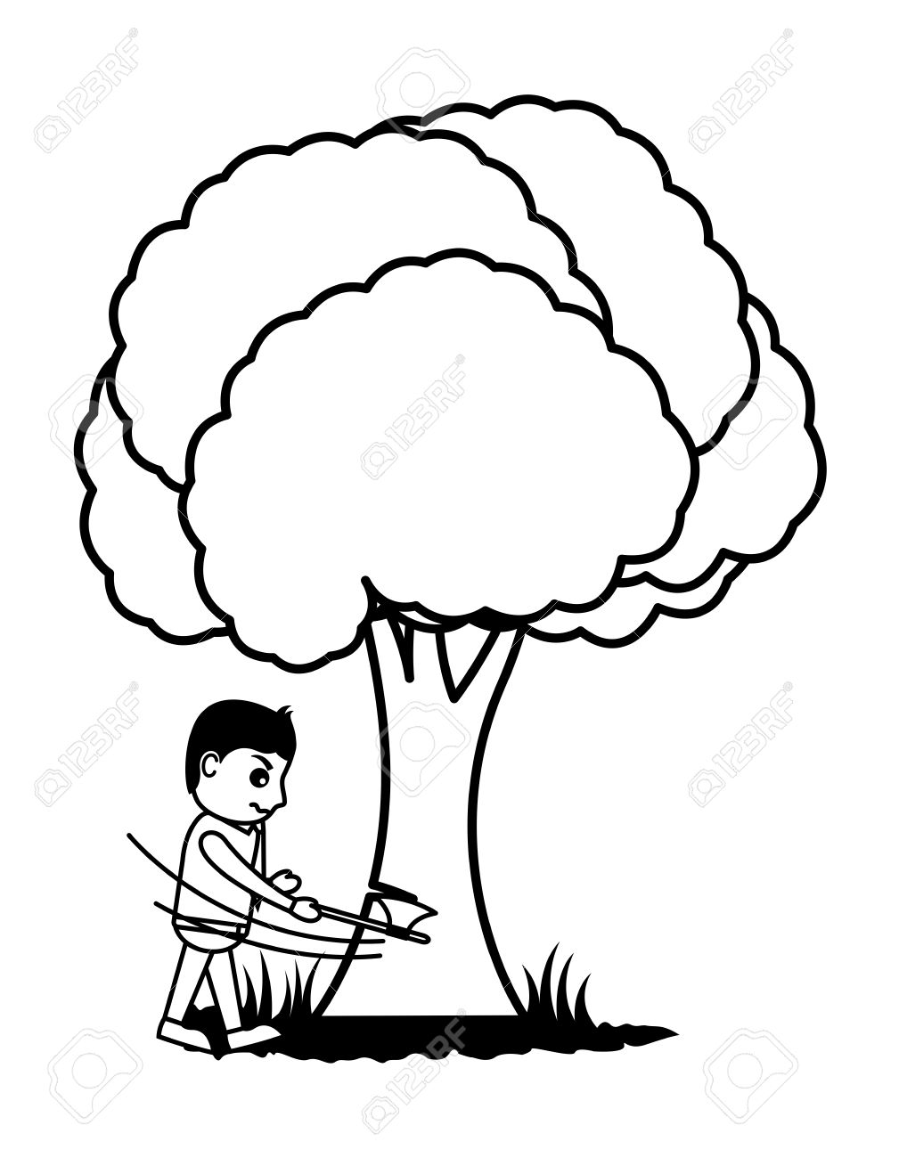 Cutting trees clipart black and white 5 » Clipart Station.