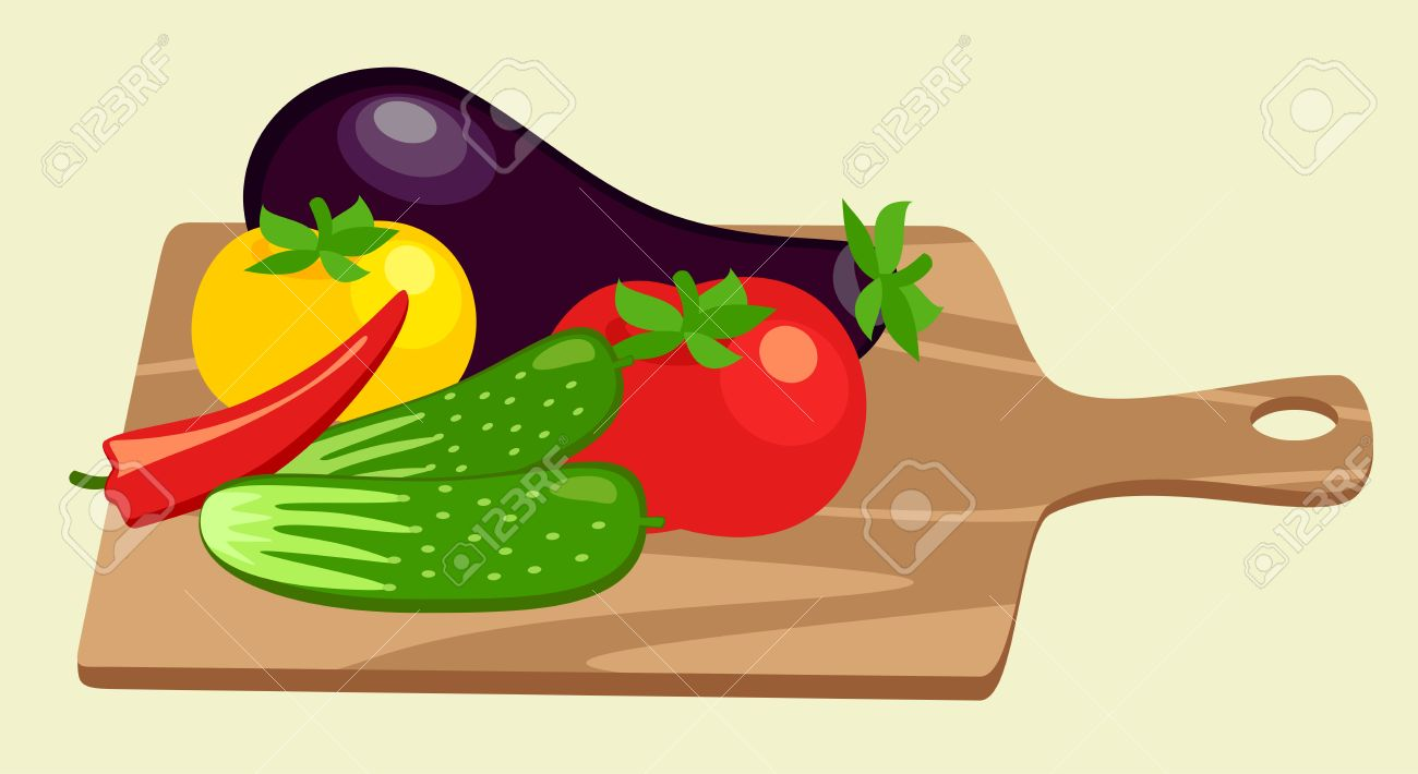 Cutting Board And Vegetables Royalty Free Cliparts, Vectors, And.