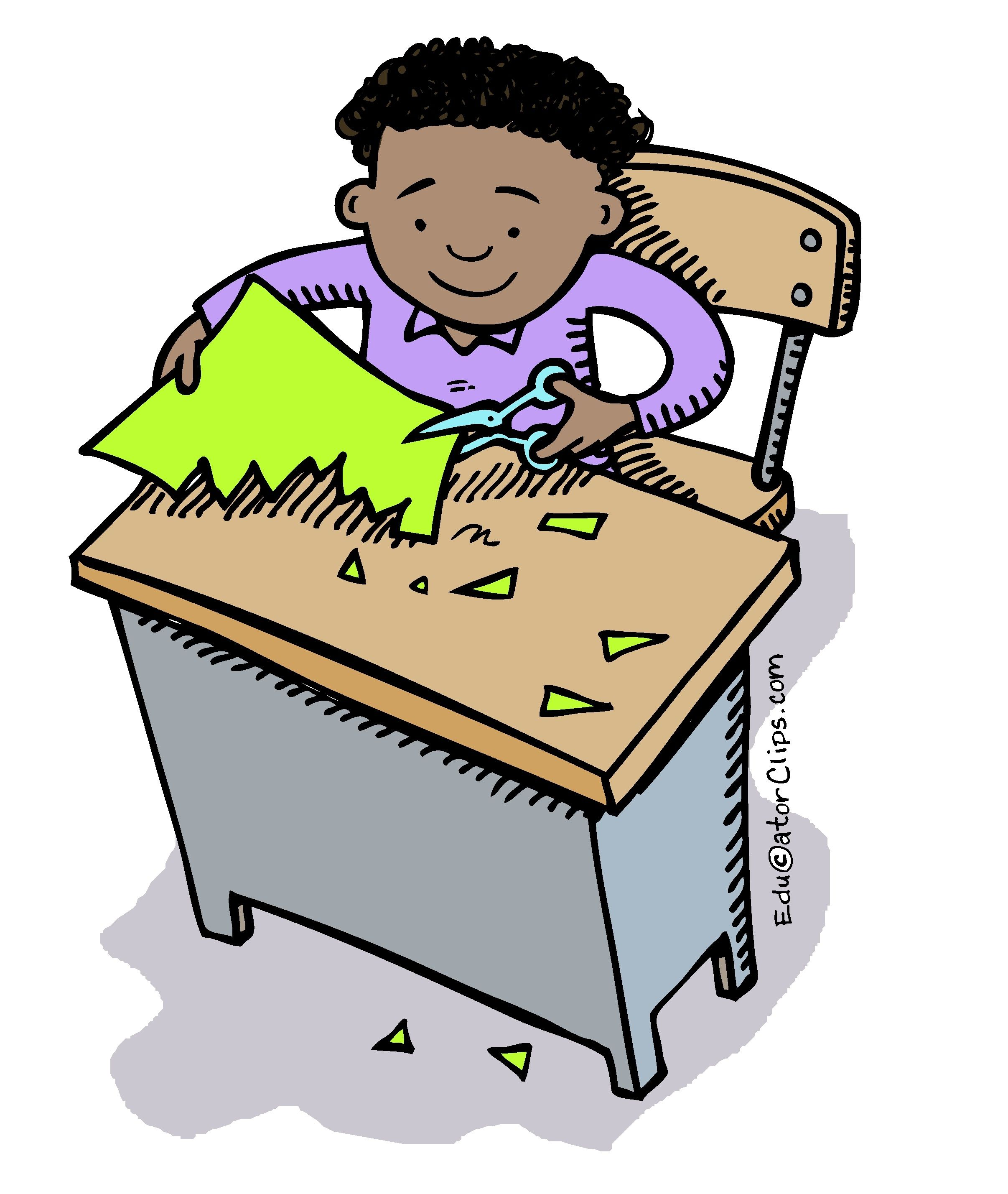 Kid Cutting with Scissors Clip Art by Mark A. Hicks.