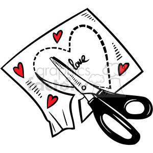 scissors cutting a heart out of paper clipart. Royalty.