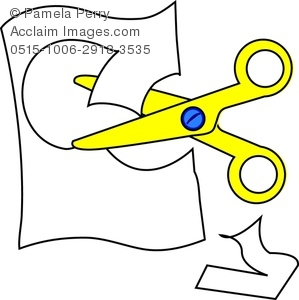 Cutting Paper With Scissors Clipart.