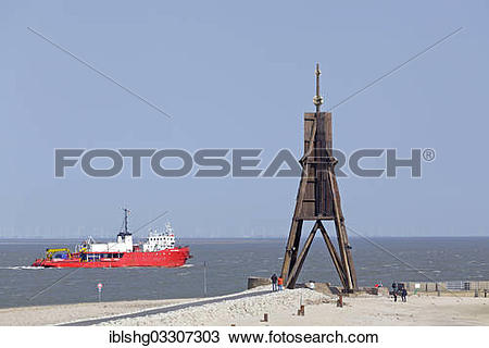 "Stock Photo of ""Kugelbake navigational aid, Cuxhaven, Lower Saxony."