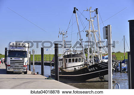 "Pictures of ""Cutter in the harbour, North Sea resort of Wremen."