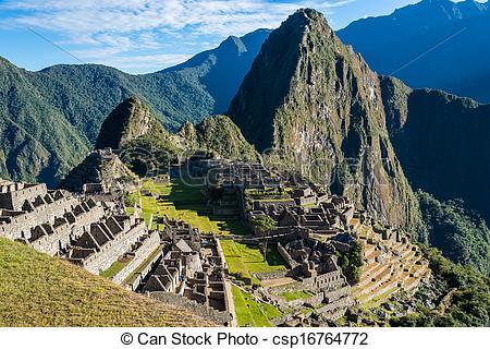 Picture of Machu Picchu ruins peruvian Andes Cuzco Peru.