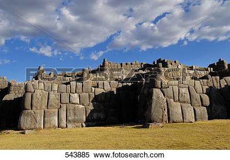Stock Image of Old ruins of fortress, Sacsayhuaman, Cuzco, Cusco.