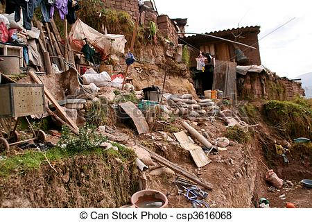 Pictures of Hut In Slums in Cuzco in Peru csp3616068.