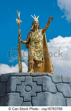 Stock Image of Pachacutec Inca stue in Plaza de Armas of Cuzco.