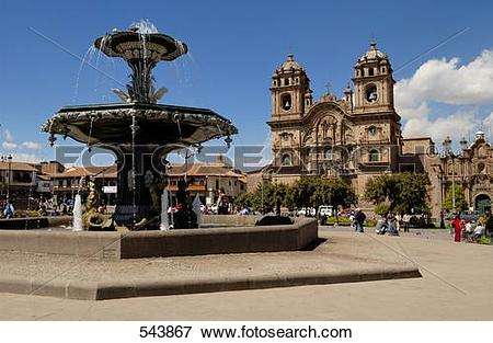 Picture of Fountain in front of church, Iglesia La Compania De.