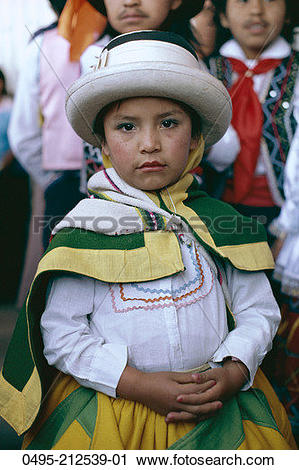 Stock Photography of Peru, Cuzco, Young Girl, Child Dressed in.