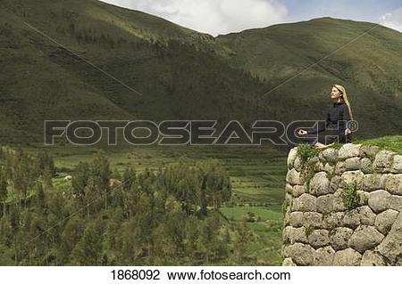 Stock Photo of woman meditating, cuzco (cusco), peru 1868092.