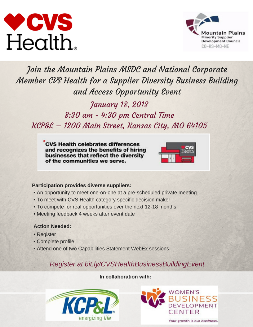 CVS Supplier Diversity Business Building and Access Opportunity.