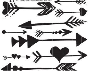75% SALE Tribal indian Arrow ClipArt, Hand Drawn Arrow Line Clip.