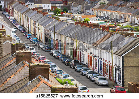 Picture of Wales, Blaenau Gwent, Cwm, Terrace houses in Cwm, near.