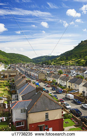 Stock Image of Wales, Blaenau Gwent, Ebbw Vale, Terrace houses in.